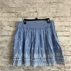 Ariat XL Striped Embroidered Eyelet Blue Skirt
